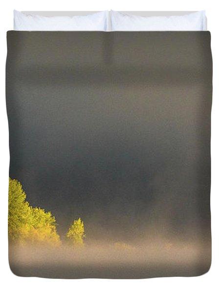 Morning Fog On Jackson Lake Grand Teton National Park  Duvet Cover