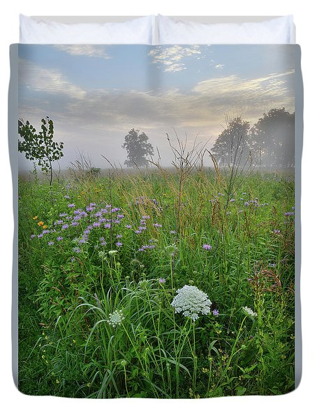 Morning Fog Over Glacial Park Prairie Duvet Cover
