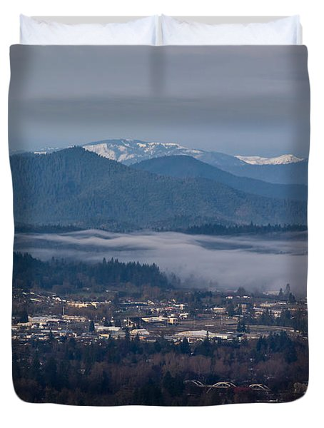 Morning Fog Over Grants Pass Duvet Cover by Mick Anderson