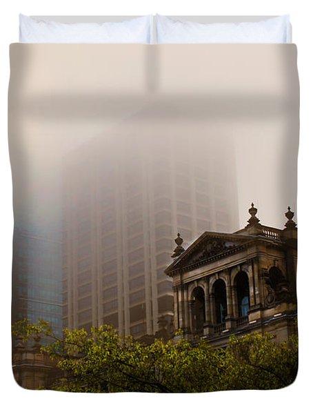 Morning Fog Over The Treasury Duvet Cover