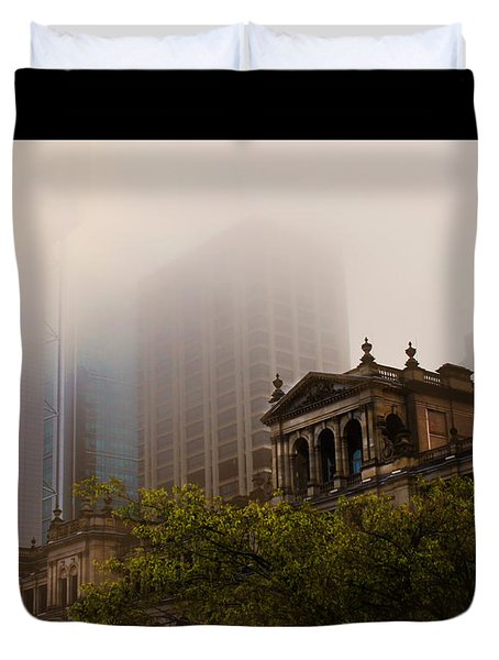 Morning Fog Over The Treasury Duvet Cover