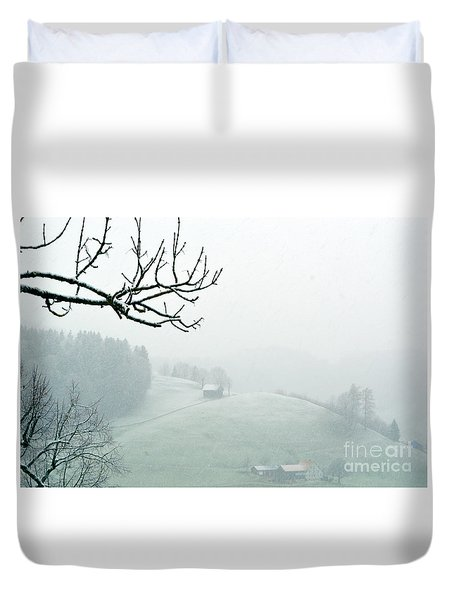 Duvet Cover featuring the photograph Morning Fog - Winter In Switzerland by Susanne Van Hulst