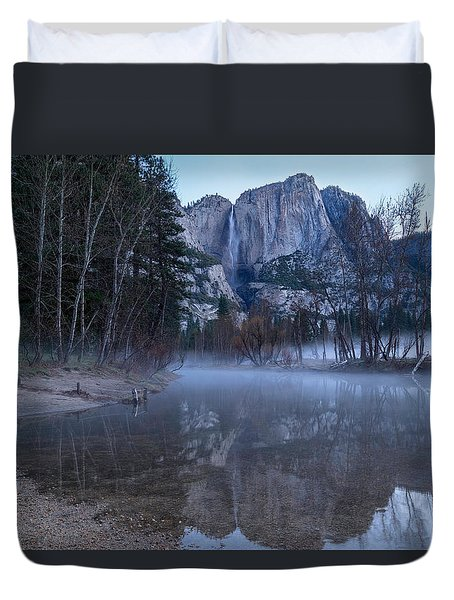 Morning Fog Yosemite Falls Duvet Cover