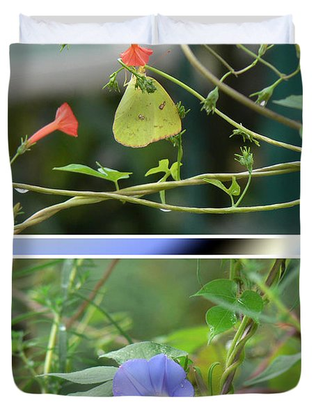 Morning Glories And Butterfly Duvet Cover by EricaMaxine  Price