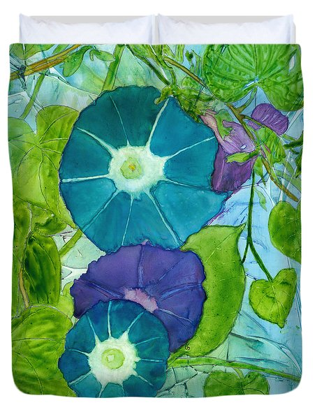 Morning Glories In Watercolor On Yupo Duvet Cover