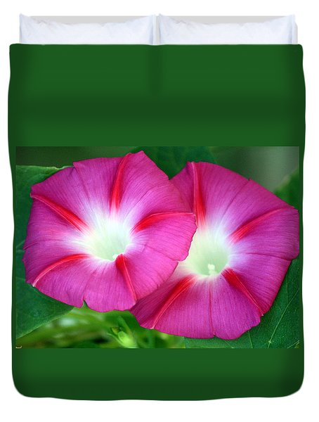 Duvet Cover featuring the photograph Morning Glories by Sheila Brown