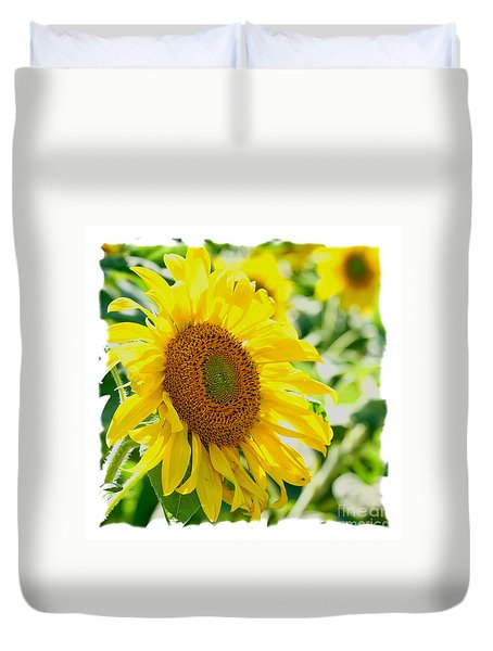 Duvet Cover featuring the photograph Morning Glory Farm Sun Flower by Vinnie Oakes