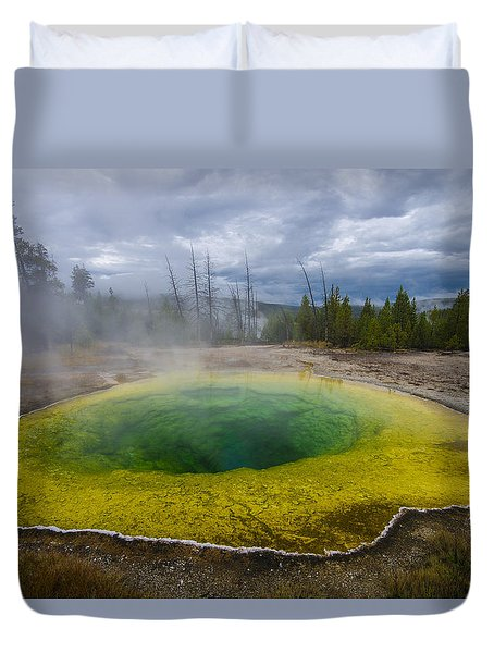 Duvet Cover featuring the photograph Morning Glory Pool by Gary Lengyel