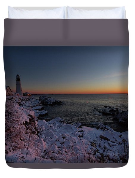 Morning Glow At Portland Headlight Duvet Cover