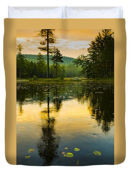 Morning Glow On Lake Duvet Cover