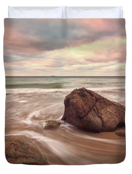 Morning Glow Singing Beach Ma Duvet Cover
