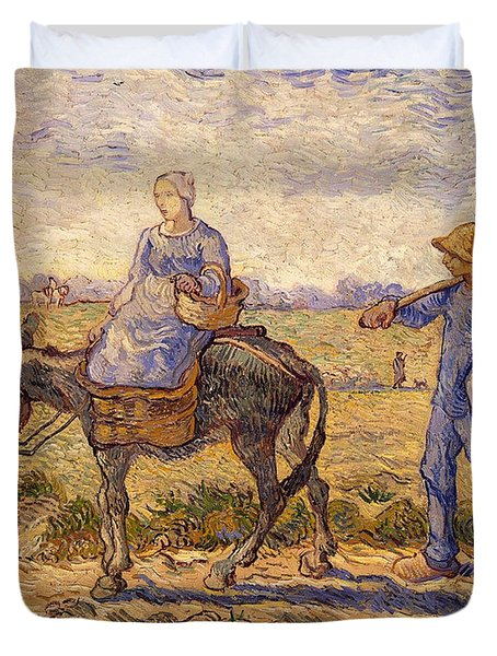 Morning Going Out To Work Duvet Cover by Vincent Van Gogh