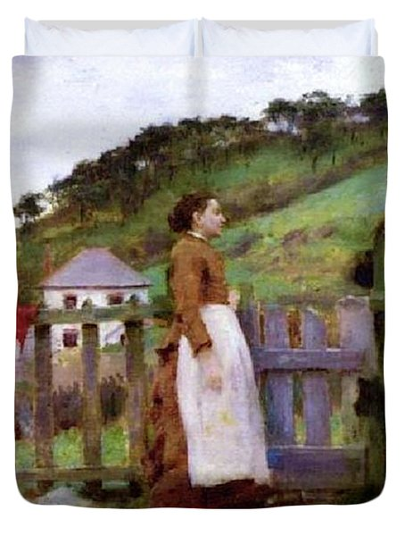 Duvet Cover featuring the painting Morning Gossip by Henry Scott Tuke
