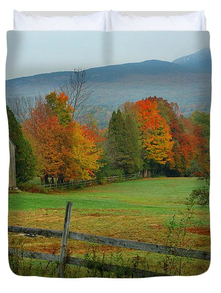 Morning Grove - New England Fall Monadnock Farm Duvet Cover by Jon Holiday