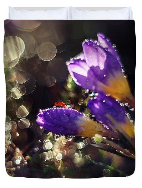 Morning Impression With Violet Crocuses Duvet Cover by Jaroslaw Blaminsky