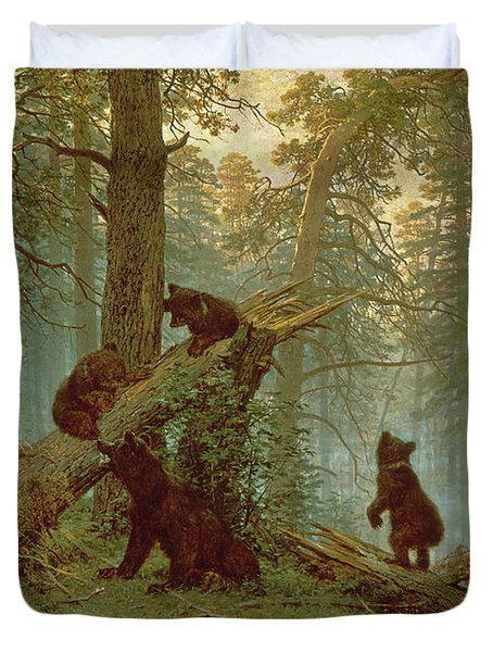 Morning In A Pine Forest Duvet Cover by Ivan Ivanovich Shishkin