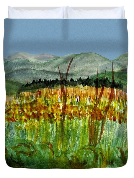 Duvet Cover featuring the painting Morning In Backyard At Barton by Donna Walsh