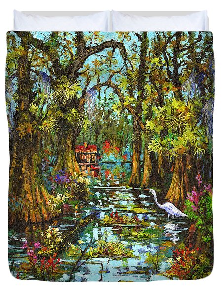 Morning In The Swamp Duvet Cover by Dianne Parks
