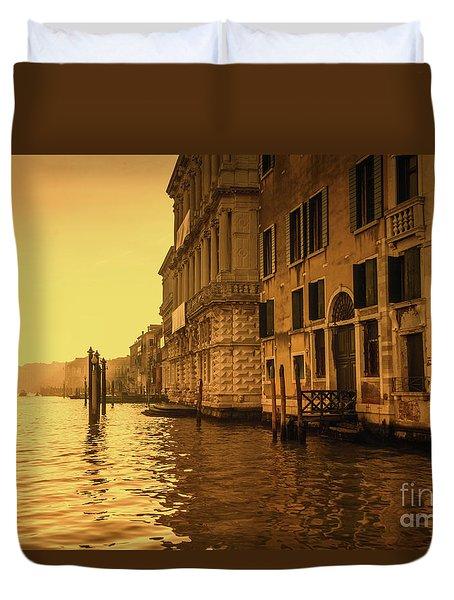 Morning In Venice Sepia Duvet Cover