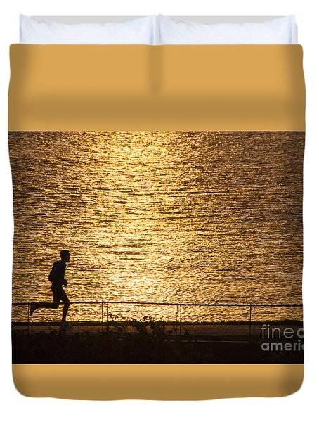 Duvet Cover featuring the photograph Morning Jog by Inge Riis McDonald