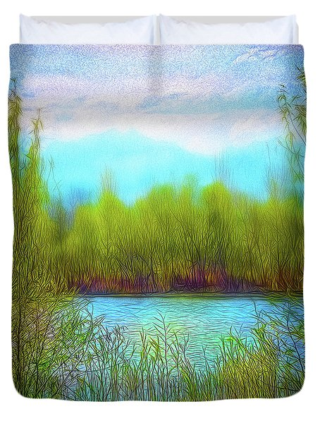 Morning Lake In Stillness Duvet Cover