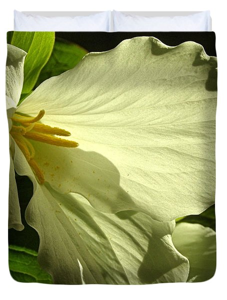 Duvet Cover featuring the photograph Morning Light - Trillium by Angie Rea