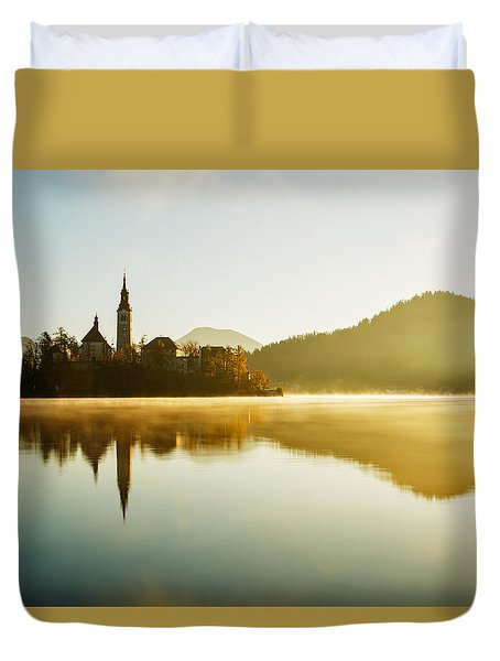 Duvet Cover featuring the photograph Morning Light At Lake Bled by Ian Middleton