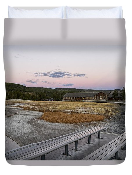 Morning Light At Old Faithful Duvet Cover by Shirley Mitchell