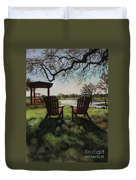 Morning Light At The Vineyard Florence Texas Duvet Cover by Kelly Borsheim