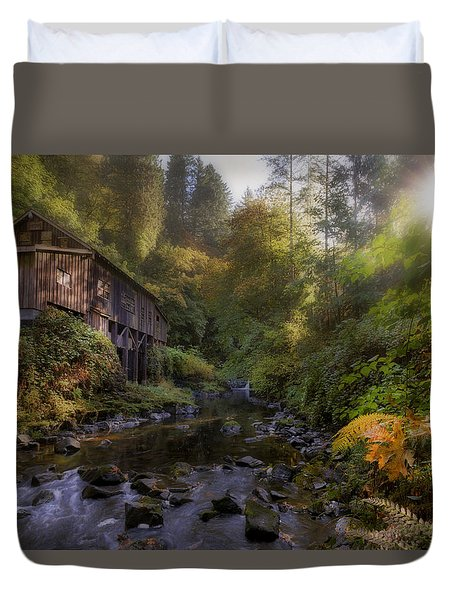Morning Light Cedar Creek Grist Mill Duvet Cover by David Gn