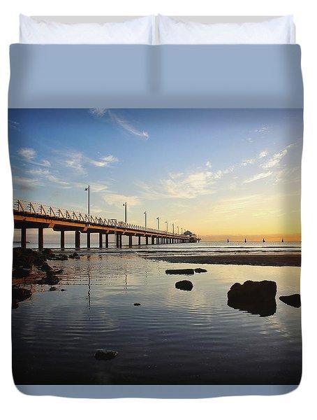 Morning Light Down By The Pier Duvet Cover