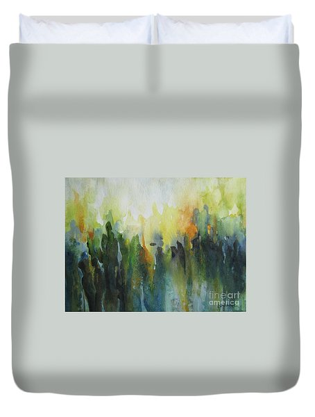 Duvet Cover featuring the painting Morning Light by Elena Oleniuc