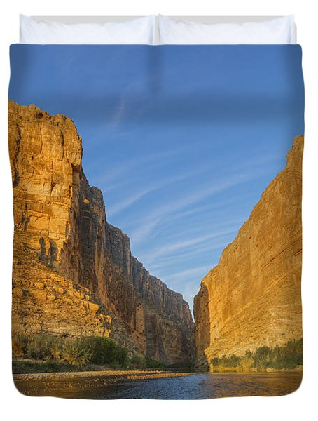 Morning Light In Santa Elena Canyon In Big Bend 1 Duvet Cover