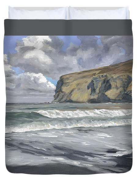 Duvet Cover featuring the painting Morning Light On Pencannow Point by Lawrence Dyer