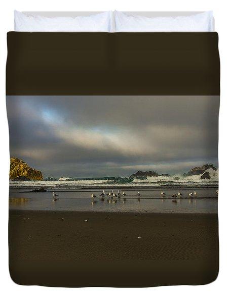 Morning Light On The Beach Duvet Cover