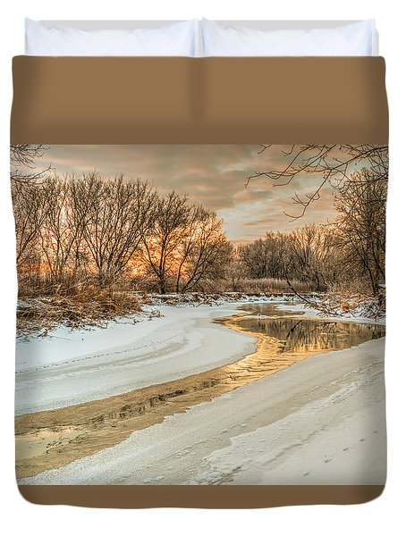 Morning Light On The Riverbank Duvet Cover