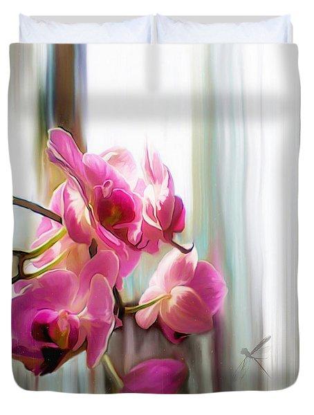 Morning Light Orchids Duvet Cover