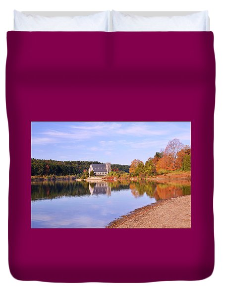 Morning Light Wachusett Reservoir Duvet Cover