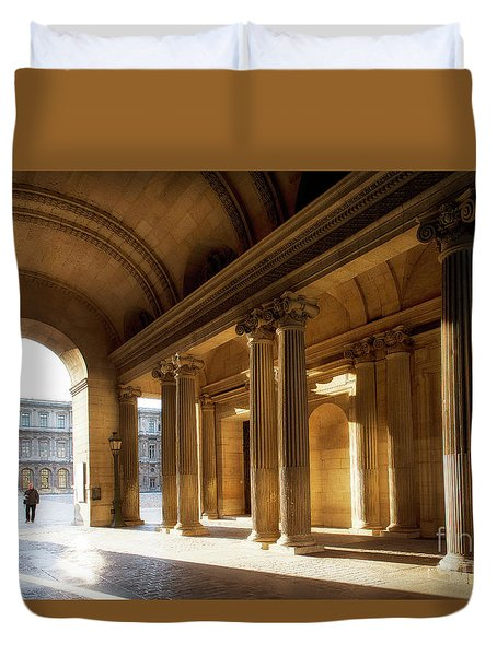 Duvet Cover featuring the photograph Morning Lights At The Louvre Museum by Ivy Ho