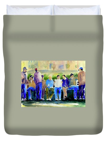 Morning Meeting In Portsmouth Square Duvet Cover