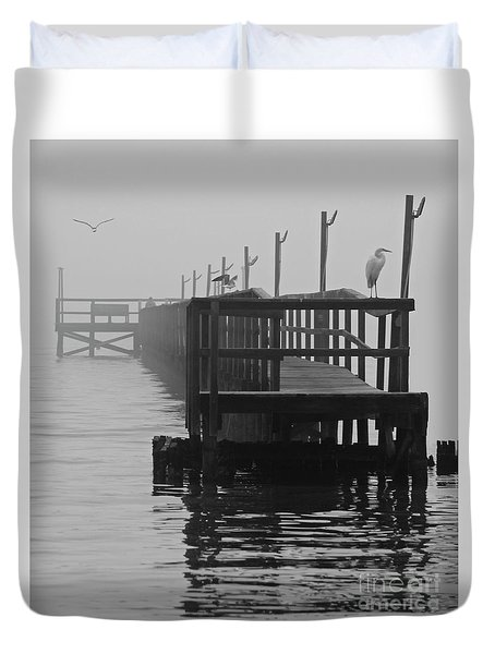 Duvet Cover featuring the photograph Morning Meeting by Joe Jake Pratt