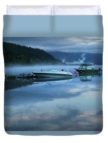 Morning Mist Adams Lake Duvet Cover by Theresa Tahara