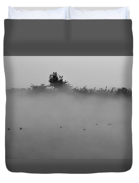Morning Mist At Wetland Of Harike Duvet Cover