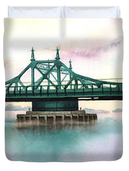 Morning Mist City Island Bridge Duvet Cover by Marguerite Chadwick-Juner