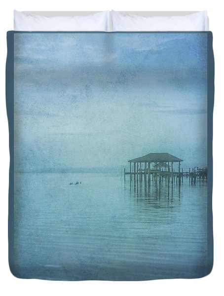 Duvet Cover featuring the digital art Morning Mist In Blue by Randy Steele