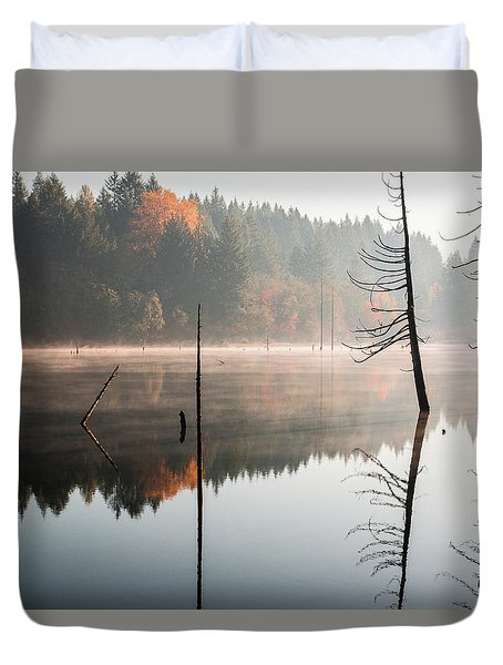 Morning Mist On A Quiet Lake Duvet Cover