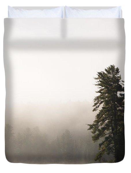 Morning Mist On Mew Lake Duvet Cover