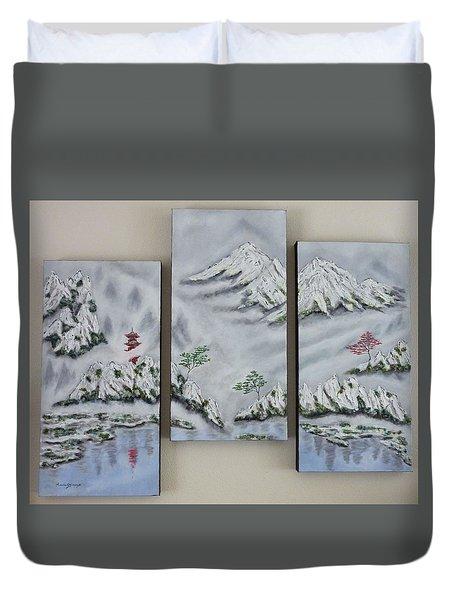 Morning Mist Triptych Duvet Cover