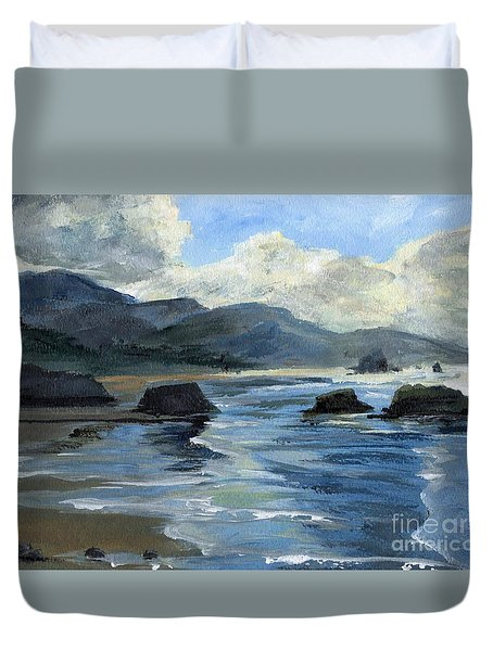 Morning Mists Oregon Coast Duvet Cover