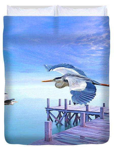 Morning Moon And Gray Herons Duvet Cover